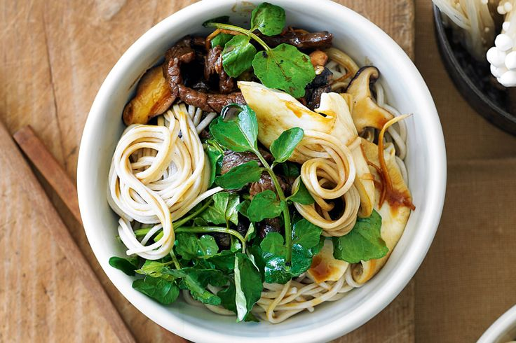 This Asian dish of delicate mushrooms, slippery noodles and rich sauce is cooked in minutes.
