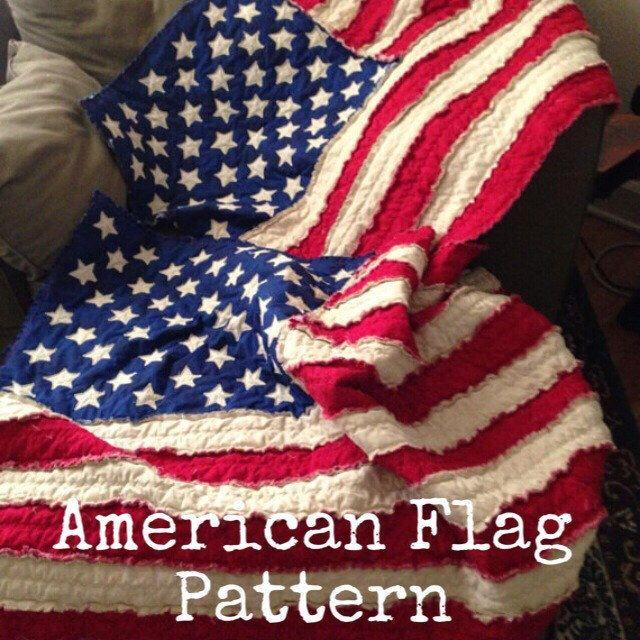 American Flag Rag Quilt Pattern by NicheFabricStudio on Etsy https://www.etsy.com/listing/226484283/american-flag-rag-quilt-pattern