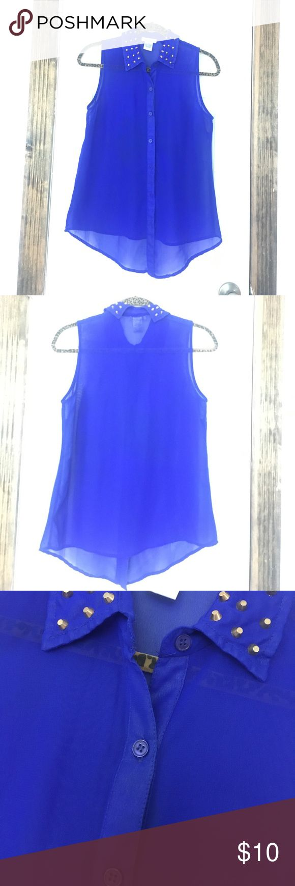 Electric Blue Studded Collar Blouse Electric blue sheer tank blouse with gold studded collar. Worn once or twice. Like new! Can be tucked, tied or worn as is. Great color! No trades. Dizzy Lizzy Tops Blouses