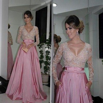 Hot A-Line V Neck Long Sleeve Bead Formal Evening Dress Pageant Party Prom Gown