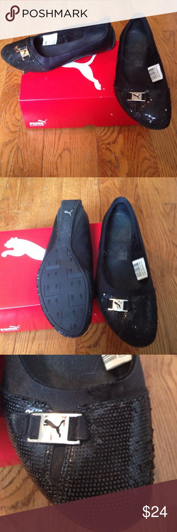 Puma black sequined flats size 7 Gently used black sequined Puma flats size 7. Comes in original box Puma Shoes Flats & Loafers