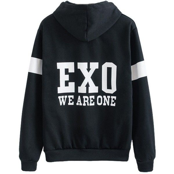 EXO Black Sweater Long Sleeve Hoodie Chen Kai Baekhyun Jacket Pullover... (86 ILS) ❤ liked on Polyvore featuring outerwear, tops, jackets, exo and jumpers
