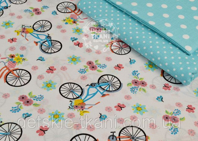 """Ткань """"Разноцветные велосипеды и цветочки"""", фон ткани - белый (№ 856а) оптом и в розницу от интернет-магазина """"Detskie-Tkani"""""""