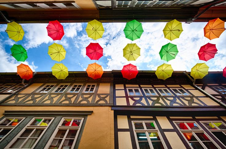 Colourful Umbrellas - Colourful umbrellas on the streets of Erfurt, Germany.