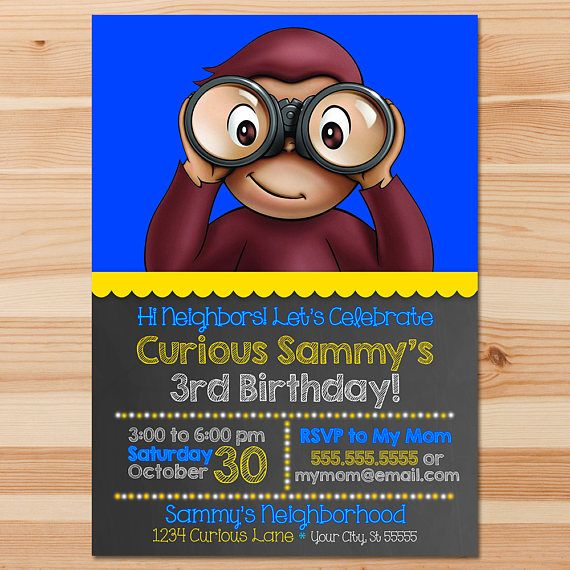 Curious George Birthday Invite  Blue Chalkboard  Boy Curious