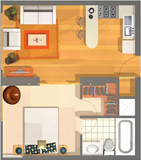 Small apartment plans of 40m2 for a single person or childless couple