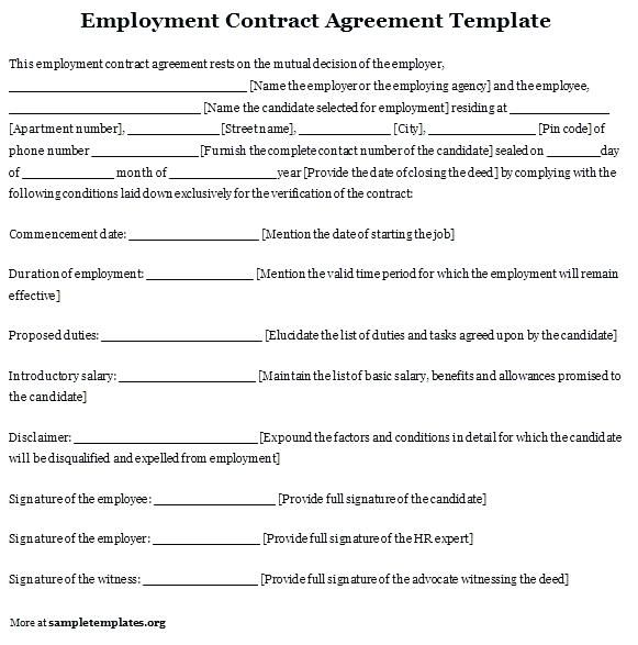 work agreement contract template employee free sample