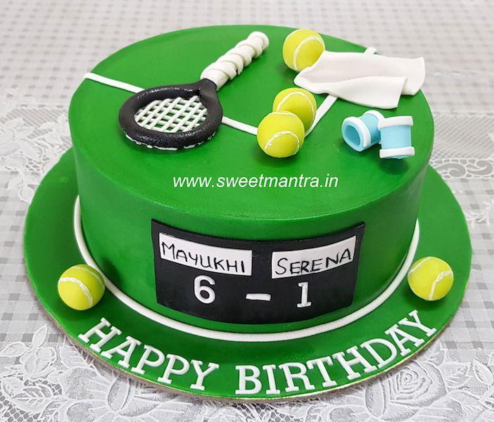Tennis Theme Customized Designer Fondant Cake With 3d Tennis Racket Balls For A Tennis Player S Bi Bolo De Chocolate Trufado Bolos De Esportes Bolos Tematicos