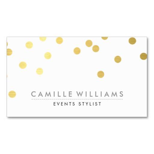 Confetti modern cute polka dot pattern gold foil business for Polka dot business card templates free