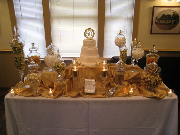 Candy table for wedding anniversary parties
