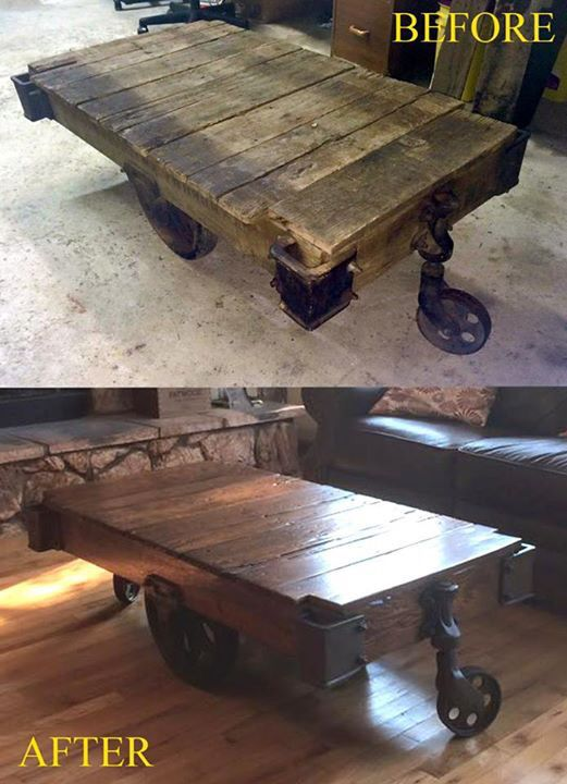 Red An Old Lineberry Cart Into A Coffee Table