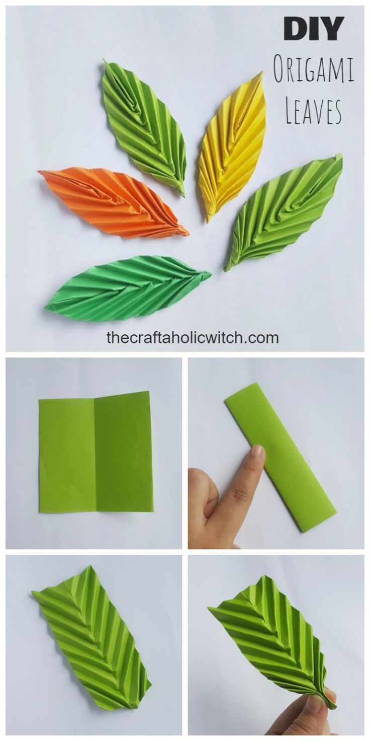 Paper Origami Flowers, Origami Leaves, Paper Flowers Craft, Paper Crafts Origami, Flower Crafts, Flowers With Paper, Diy Origami Cards, Flower Making Crafts, Fall Paper Crafts