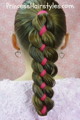 Tresse à quatre mèches incluant le ruban *** Ribbon braid tutorial