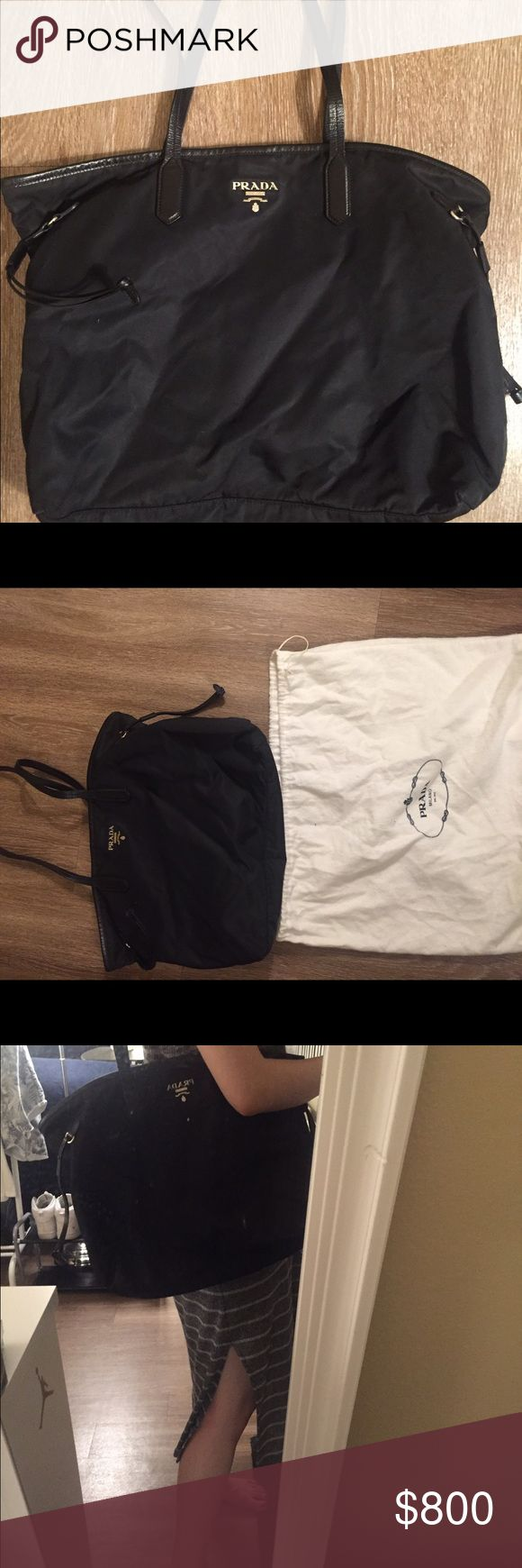 Prada Nylon tote bag rarely used, very great condition, scratch less, nylon leather tote ! Prada Bags Totes