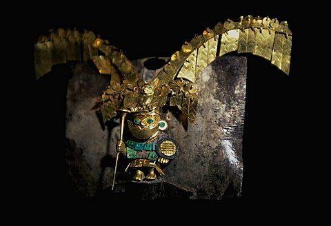 Gold Artifacts Moche (Mochica) Culture, 100 to 700AD, NCoast nose-ring from Old Lord of Sipan Tomb, 200AD, masterpiece in miniature of warrior-chief, Peru