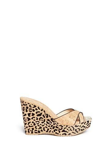 Perfume' leopard cork platform wedge sandals #wedgesandals #women #covetme #jimmychoo