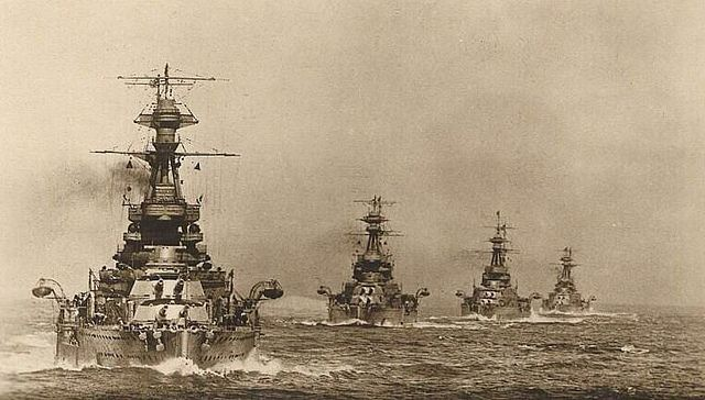 HMS Royal Oak, HMS Resolution, HMS Revenge, and HMS Ramillies of the Second Division, First Battle Squadron, Atlantic Fleet, line ahead, 1923.