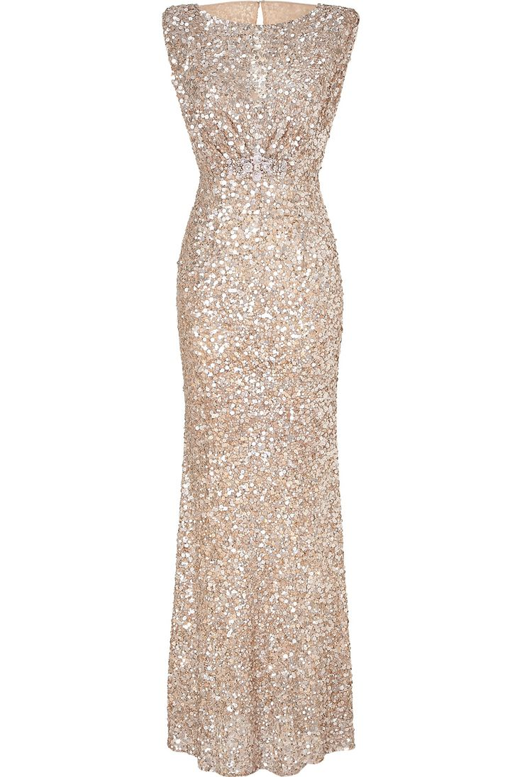 "Yes please - I would feel like ""Old 1940's Hollywood Glam"" if I could wear this!  Sigh... Jenny Packham Soft Gold Sleeveless Sequin Gown"