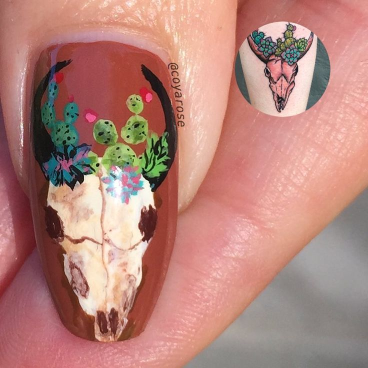 Cow skull southwestern cactus nails nail art