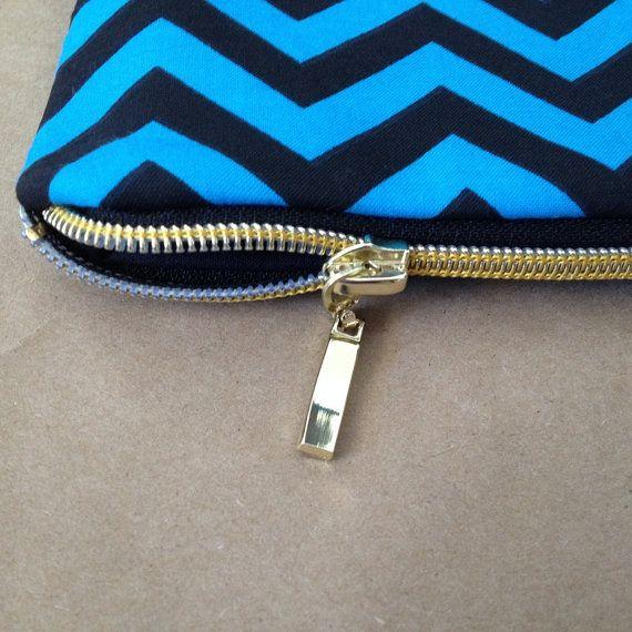 Gold Zipper Clutch: Blue and Black Chevron by AlannaAccessories