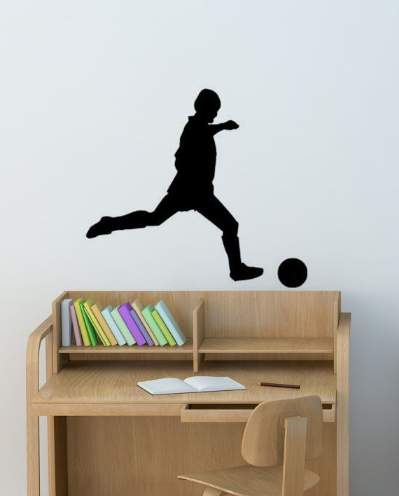 Soccer wall decal, boys bedroom sports sticker, team sports decal, teen room decor, college dorm room decal, football decal, 28 X 30 inches