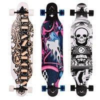 Wish | Solid Wood Longboard Skateboard Complete Multiple Designs Double Row Wheel (Size: Animal Print)