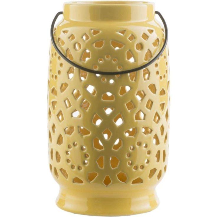 11 Madison Links Sunshine Yellow Ceramic Large Pillar Candle Holder Lantern