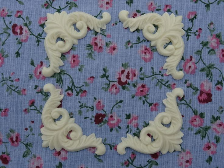 SHABBY CHIC DECORATIVE CORNERS X 4 APPLIQUES FURNITURE MOULDINGS O19A