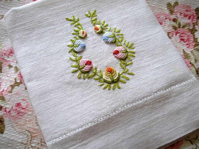 The Bullion Knot, the one stitch I can NOT master. This is a beautiful hand towel!