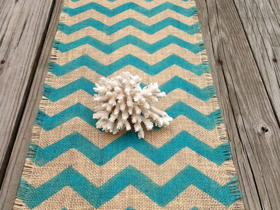 Burlap Chevron Table Runner Turquoise Hand by sweetjanesplan