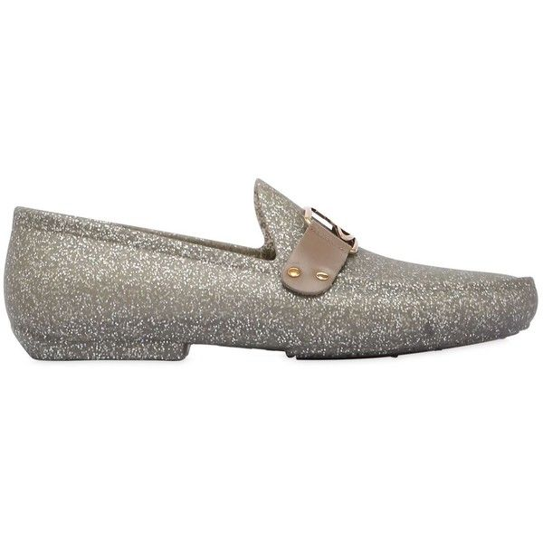 Vivienne Westwood Men Gold Glitter Rubber Loafers (91 KWD) ❤ liked on Polyvore featuring men's fashion, men's shoes, men's loafers, silver, mens rubber loafers, mens loafer shoes, mens gold shoes, mens glitter shoes and mens loafers