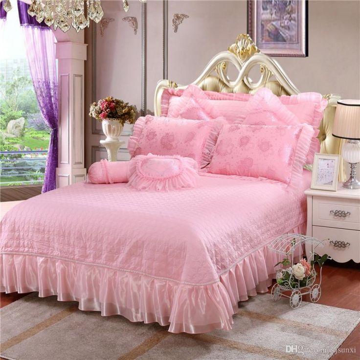 ropa de cama de piezas set bordada de satn jacquard rosa del cordn de la