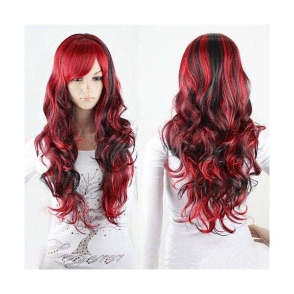 Charming Long Black Mixed Red Shaggy Curly Side Bang Synthetic Cosplay... ($11) ❤ liked on Polyvore featuring costumes, red halloween costumes, red wig costume, lady halloween costumes, cosplay costumes and cosplay halloween costumes