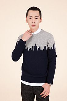 Redhomme Colorblock City Skyline SweaterGo for slick city style with this colorblock skyline sweater. This knit top features a classic rib neckline, long sleeves, and relaxed fit. Perfect with khaki pants plus lace up black combat boots.