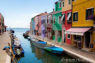 Burano, typical town close to Venice built on an island