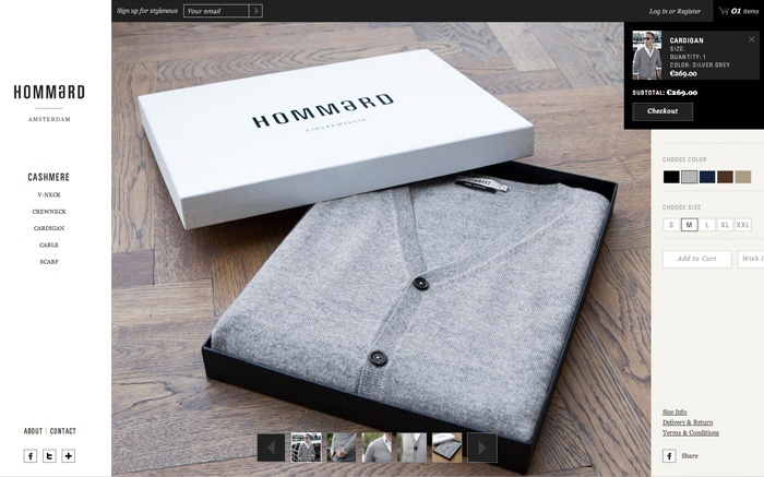 Hommard, web, site, e-commerce, responsive, fashion, clothes