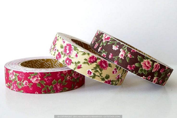 Vintage style floral pattern cotton fabric tape. Great for card making, pretty gift wrapping, and decorating $5.50