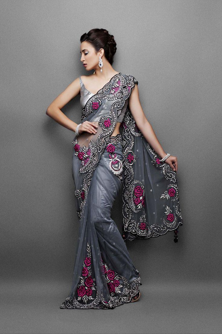 Designer sarees- Grey net sari with black cutdaana  silver crystal work