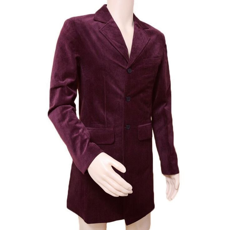 """Inspired from Blockbuster TV-Series """"Doctor Who"""" Xtreemleather Created for fashionable Men. Peter Capaldi Doctor Who Maroon Coat. Made from Velvet Fabric. This Stylish Outfit of Peter Capaldi Velvet Coat can be Your Ideal Apparel for Parties and Other Events."""