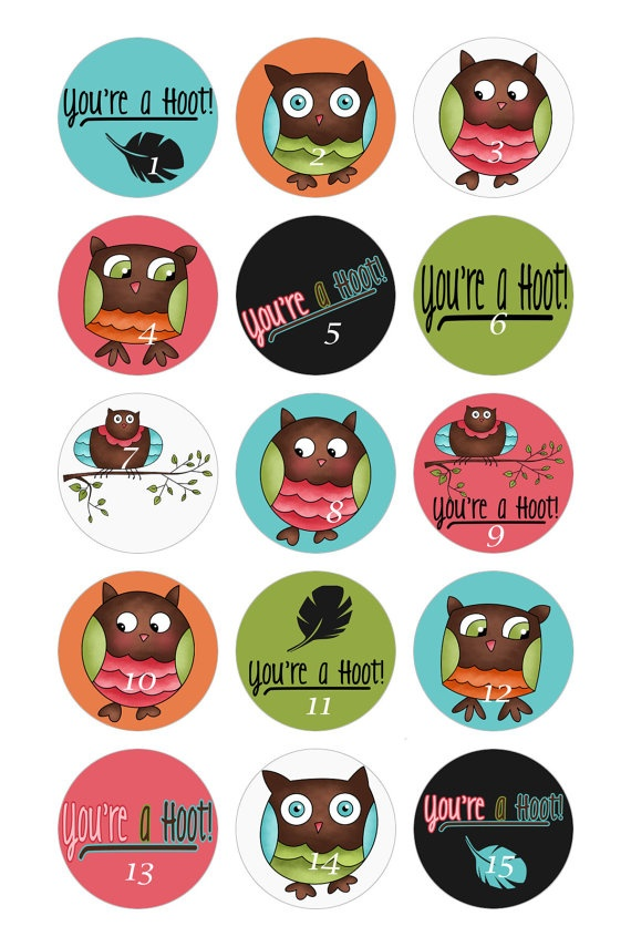 ANOTHER NEW BOTTLECAP IMAGE SET FROM MY ETSY SHOP---Set of 15 Hoot Owl Bottle Caps by OkieCreations on Etsy, $9.95