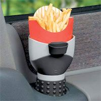 French Fry holder that fits in car's cup holder, with sauce....Oh please, don't make it that easy!