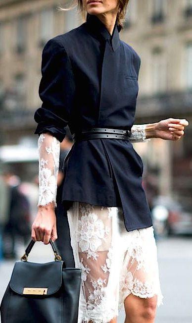 Feminine lace & blazer