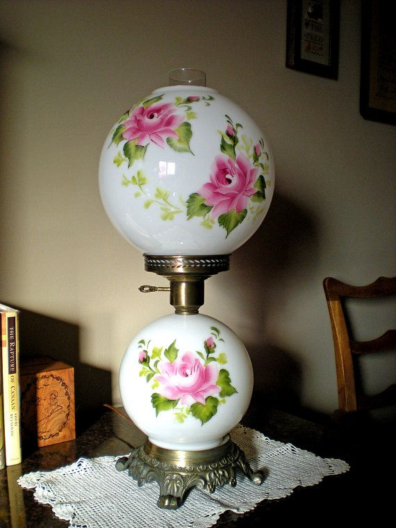 Gone With The Wind GWTW HEDCO Hurricane Lamp 1950u0027s Milk Glass Hand Painted