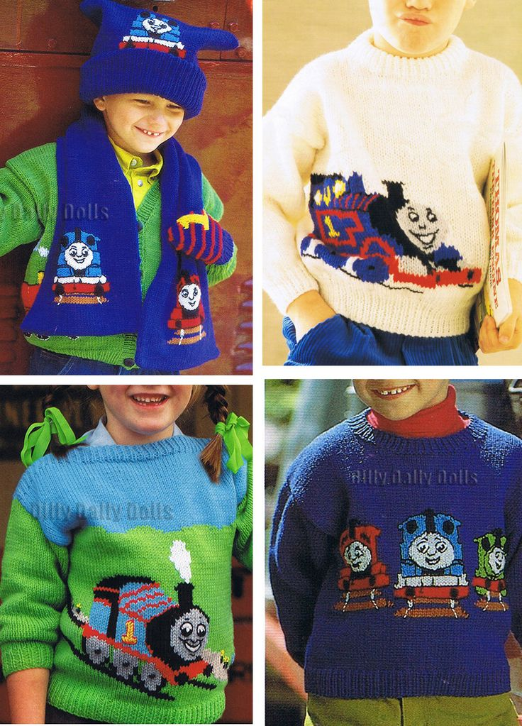 Knitting Patterns Thomas the Tank Engine / Thomas the Train - Variety of knitting patterns for sweaters, cardigans, scarves, hats featuring intarsia motifs of Thomas the Tank Engine and his train friends. See more pics and download the patterns on Etsy http://www.awin1.com/cread.php?awinaffid=234273&awinmid=6220&p=https%3A%2F%2Fwww.etsy.com%2Fshop%2FDillyDallyDolls%3Fref%3Dl2-shopheader-name%26search_query%3Dthomas tba transportation storybook