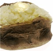 Baked Potato in a Can  Use a tin can such as one from beans or vegetables. Generously butter the outside of the potato, season to taste. Next place the potato in the can and cover with foil. Put the can next to the fire of coals and let it cook for about 30-45 minutes. Do not remove the tin foil, even for a peek!  Rotate every 15 minutes. You will have the best baked potato, perfectly cooked.