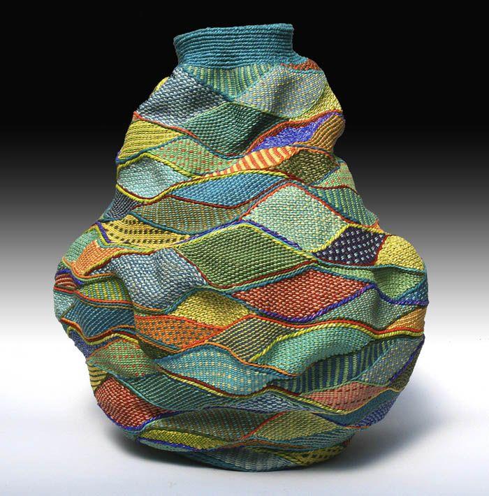 """Blue Hill  by Lois Russell  vessel of twined waxed linen - 11"""" x 9""""Fiberart, Blue Hills, Textiles, Lois Russell, Baskets, Contemporary Basketry, Wax Linens, Fiber Art, Weaving"""