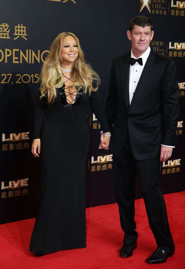 Mariah Carey, James Packer are posing for a picture: Mariah Carey and James Packer attend the Studio City casino opening in China on Oct. 27, 2015.