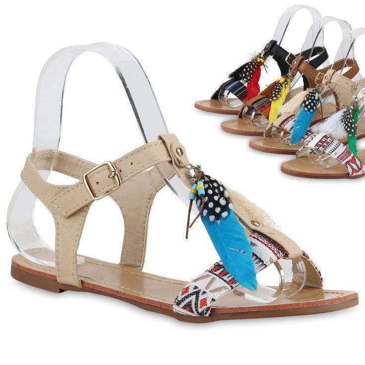 Damen Schuhe Sandalen Leder Klettverschluszlig;37 EUGold