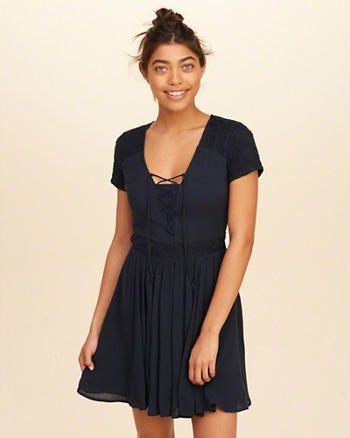 Lace-Up Skater Dress