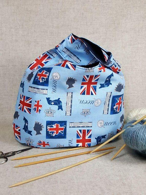 Tasche für Strickzeug blau rot Königin von England